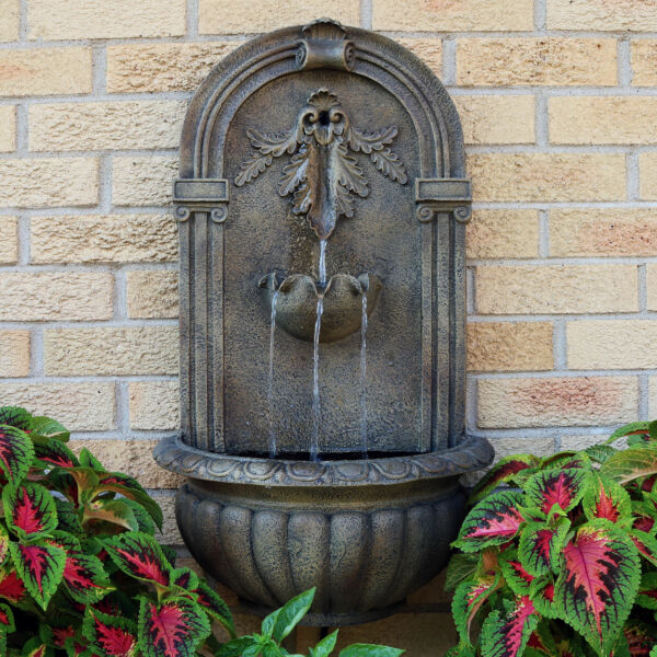 Sunnydaze Florence Electric Outdoor Wall Water Fountain 27quot; Florentine Stone