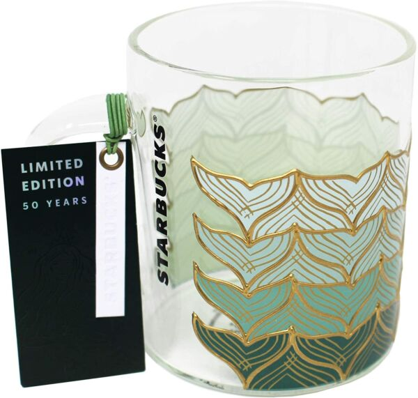 Starbucks 50th Anniversary Mermaid Glass Cup Mug 12oz NWT