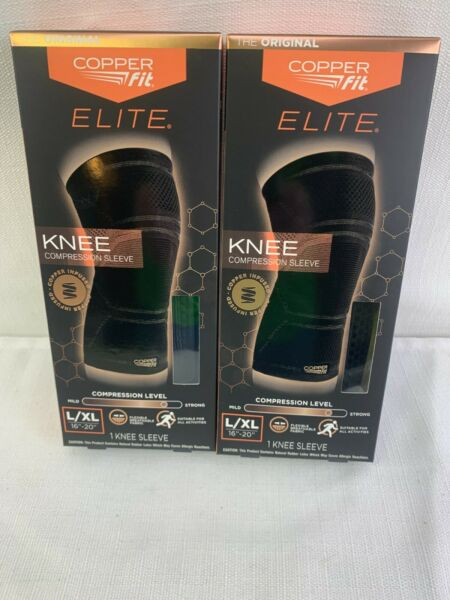 Copper Fit Elite Copper Infused Knee Compression Sleeve Large XL 2 Pack
