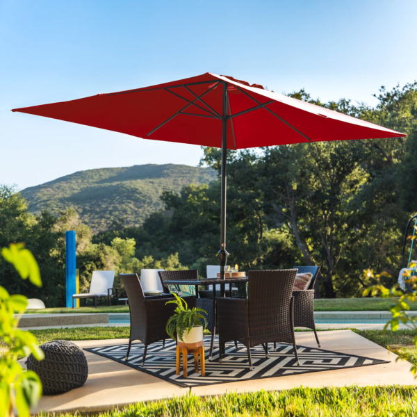 Heavy duty Outdoor Rectangular Patio Umbrella 8 x11 Ft Fabric Fade Resistant Red $95.42