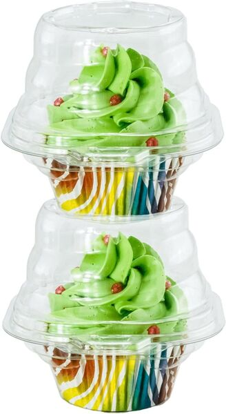 Katgely Individual Cupcake Container Single Compartment Cupcake Carrier Holder