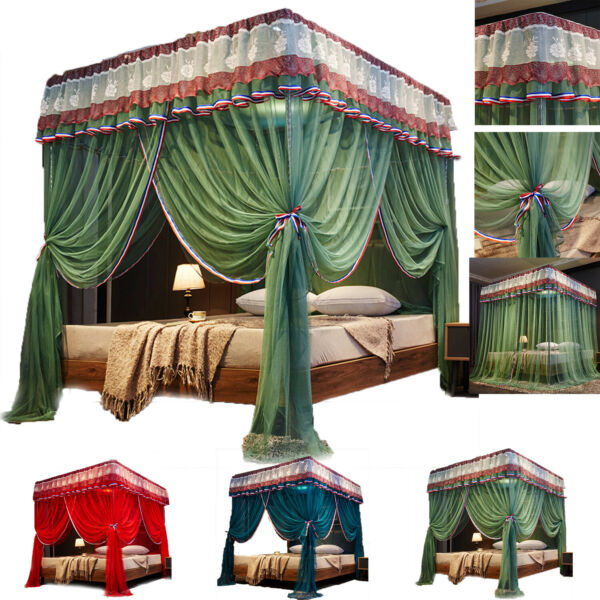 Vintage 4 Corner Poster Ruffle Bedding Curtain Canopy Netting Canopies Green