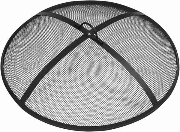 31quot; Black Round Steel Fire Pit Spark Screen Outdoor Wood Burning Mesh Cover