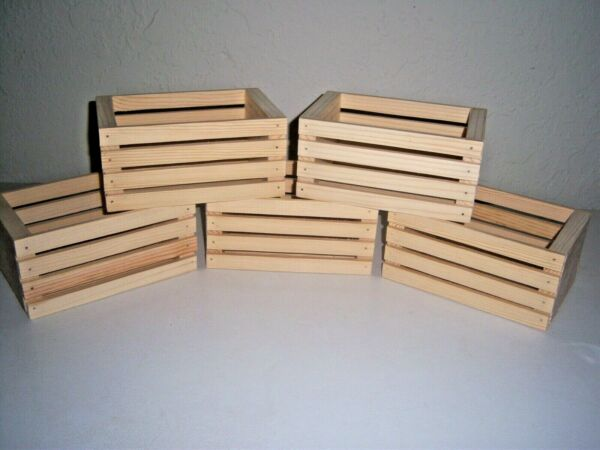 5 New Handmade Small Wooden Crates Unfinished Pine 8quot; L X 5 1 4quot; W X 3 3 4quot; H