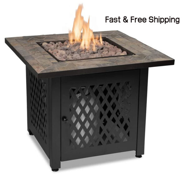Outdoor Fire Table with Slate Tile Mantel Endless Summer GAD1429SP