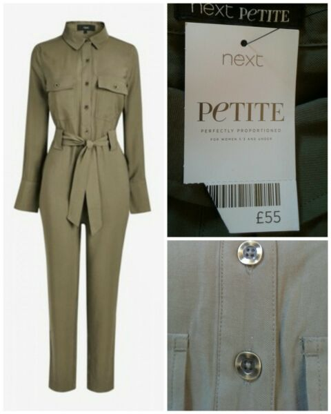 NEXT SIZE UK 18 PETITE KHAKI TAPERED LEG BELT UTILITY BOILER SUIT JUMPSUIT BNWT GBP 29.00