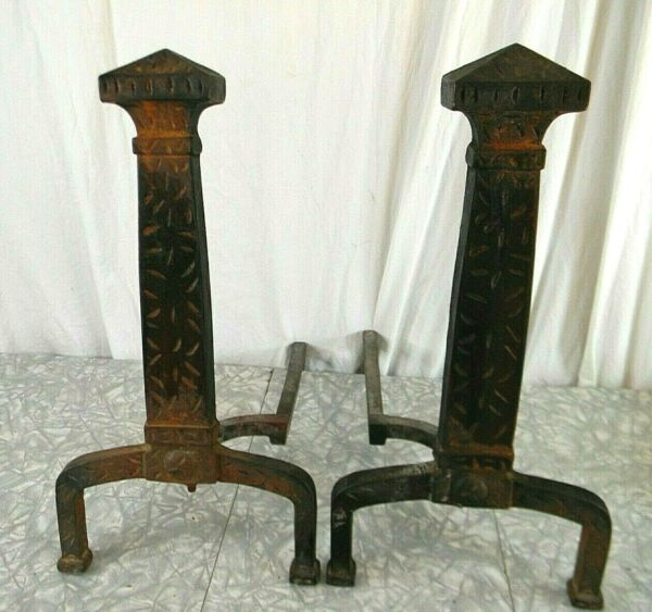 Antique Mission Arts and Crafts Pair Iron Fireplace Andirons