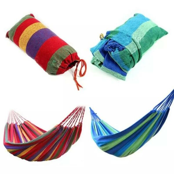 Canvas Single Camping Cotton Rope Hanging Hammock Travel Outdoor Sleeping Swing $12.50