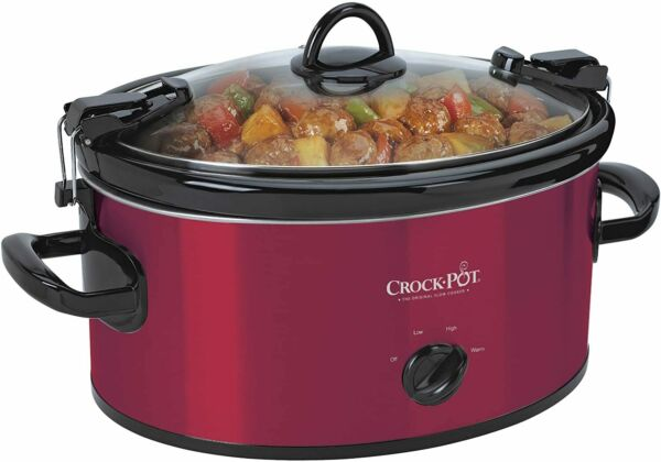 Crock Pot 6 Quart Cook amp; Carry Oval Manual Portable Slow Cooker Red