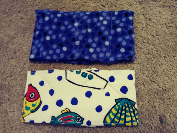 Male Dog Washable Belly Bands Set of 2 Handmade Fishes amp; Blue with Dots $14.99