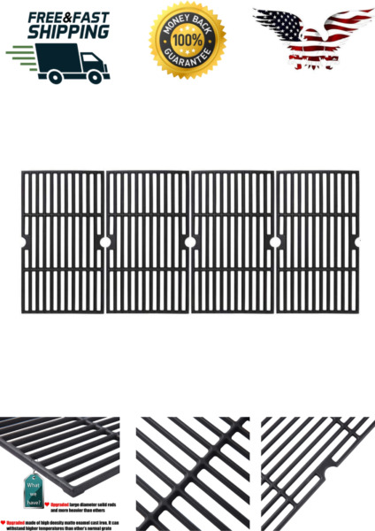 OMGG 4 Pcs Cast Iron Grill BBQ Grate For Charbroil 463239915 16 7 8quot;x9 5 16quot;