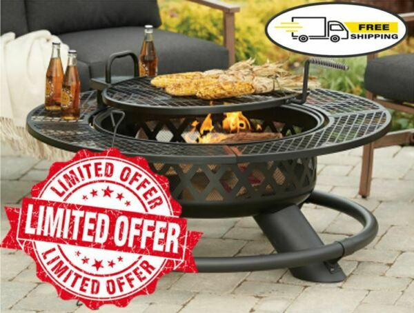 47quot; Fire Pit GRILL w BBQ Grate Outdoor Patio Wood FIRE PIT TABLE