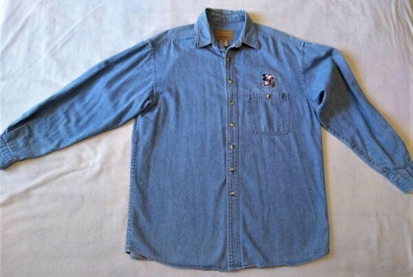 Disney Mickey Mouse Football Embroidered Button Front Large Denim Shirt $19.95
