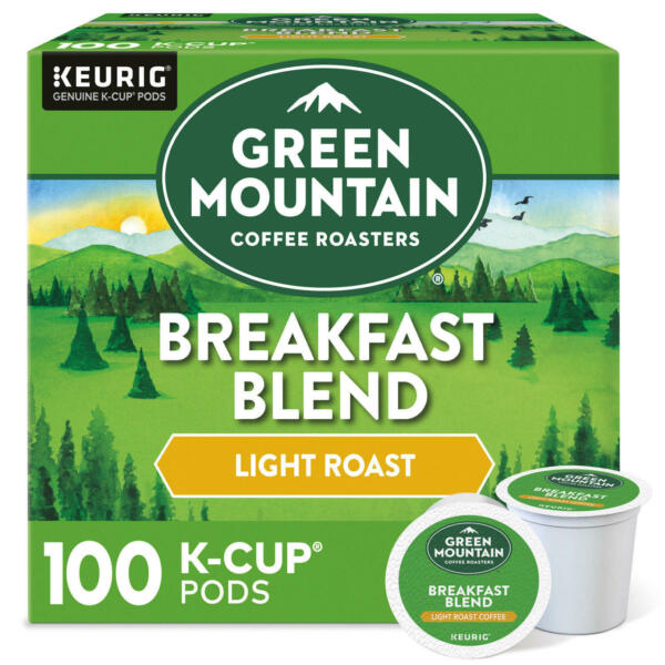 Green Mountain Coffee Breakfast Blend K Cup Pods 100 ct. FREE SHIPPING