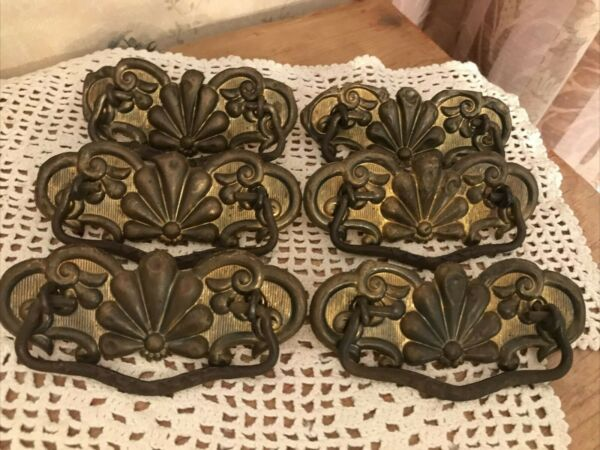 RARE 6x ORNATE ANTIQUE BRASS Puffed DRAWER PULLS LOT 4 1 2quot; w HOLES 3quot;