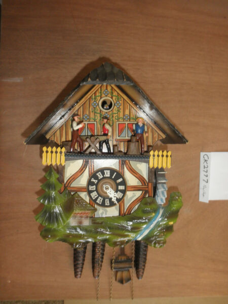 German Black Forest made Vintage Musical Woodchopper 1 Day Cuckoo Clock CK2777
