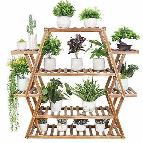 Large Wood Plant Stand Multi Tier Wood Plant Shelf 17 Potted Display Rack 8 Tier