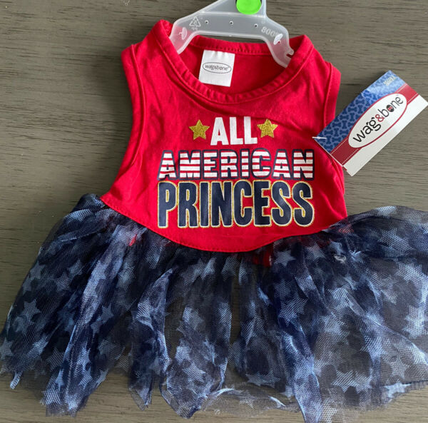 WAG A TUDE Patriotic 4th of July quot;ALL AMERICAN PRINCESSquot; DRESS Puppy Dog small $16.50