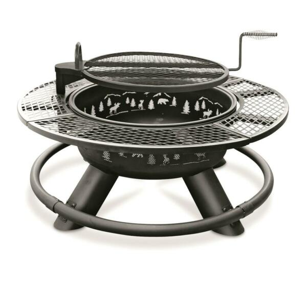 New Durable 47 in Steel Fire Pit with BBQ Grate Black