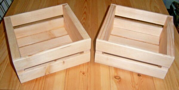 Two Handmade Wooden Crates 8quot; Long X 7 1 2quot; Wide X 3 3 4quot; High Gift Box Storage