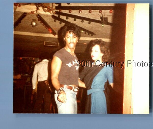 FOUND COLOR PHOTO O6319 BLACK MAN POSED DANCING WITH PRETTY WOMAN