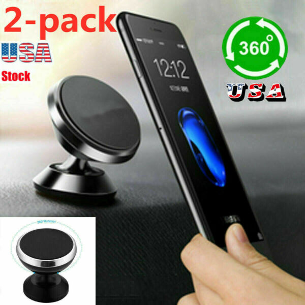 2PC Universal 360° Magnetic Car Mount Cell Phone Holder Stand For iPhone Samsung $7.64