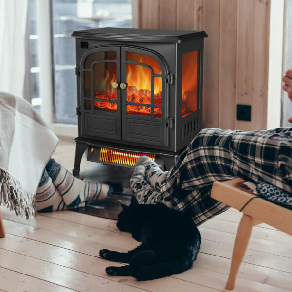 Protable Indoor Electric Fireplace Stove Heater Realistic Flame with Remote