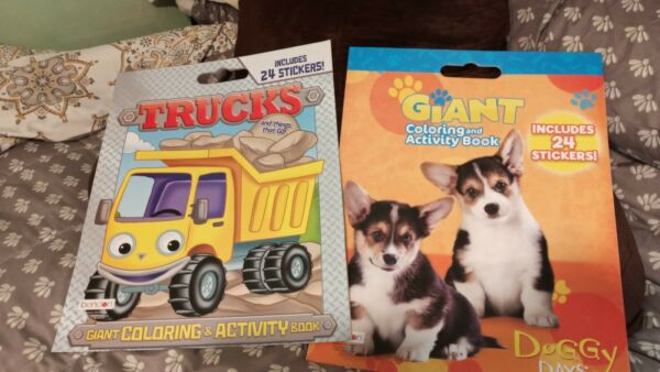2 GIANT Coloring Books With DOG amp; TRUCKS Stickers $10.00