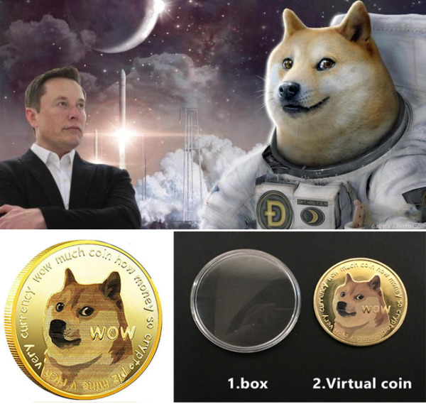 Funny Dogecoin Gold Doge Commemorative Coins Collection Wow Dog Pattern Souvenir $4.99