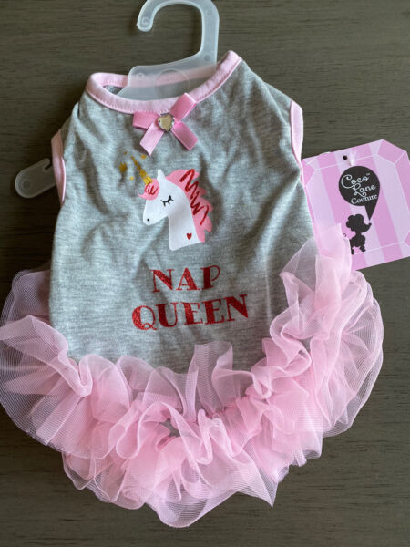 COCO LANE GRAY with PINK SKIRT quot;NAP QUEENquot; UNICORN TUTU DRESS Puppy Dog SMALL $16.50