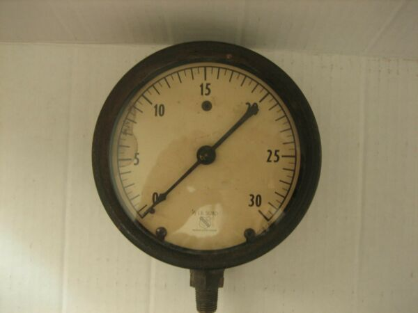 Vintage Ashcroft Steam Gauge with Great Natural Patina 1 2 LB. SUBD $99.95