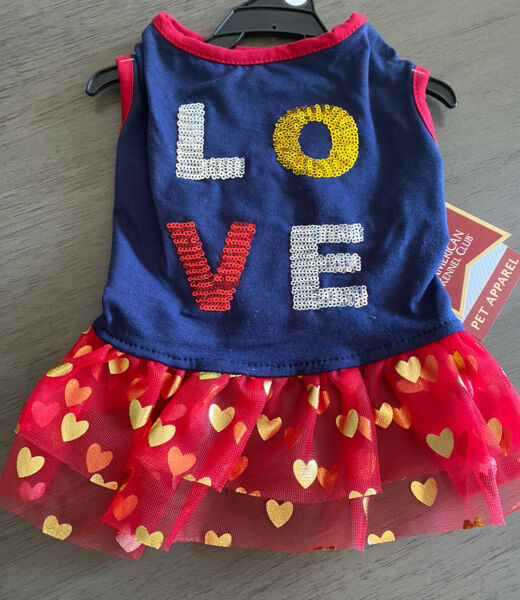 AMERICAN KENNEL CLUB NAVY RED quot;LOVEquot; DRESS Puppy Dog MEDIUM $16.50