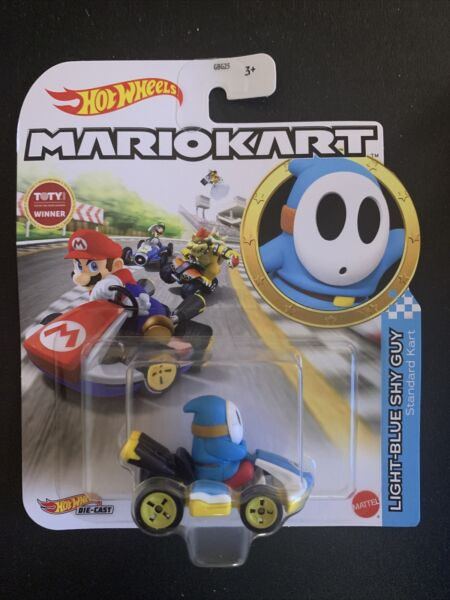 HOT WHEELS MARIO KART LIGHT BLUE SHY GUY STANDARD KART DIE CAST IN HAND