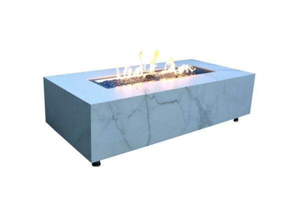 Elementi quot;Carraraquot; Marble Porcelain Fire Table Natural Gas