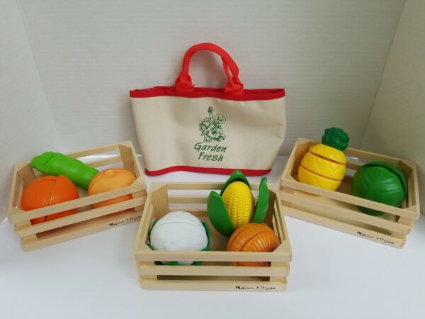Play food produce set of 8 take apart pieces with tote and 3 wooden baskets