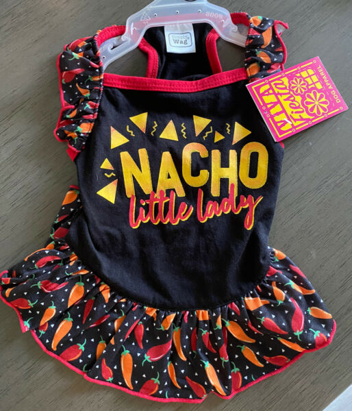 SIMPLY WAG Black amp; Red FIESTA quot;NACHO LITTLE LADYquot; DRESS Puppy Dog SMALL $16.50