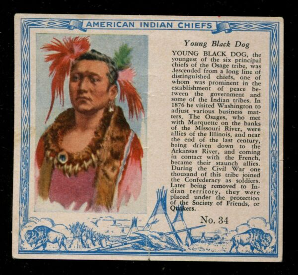 1954 T129 Red Man Tobacco American Indian Chiefs #34 Young Black Dog LOOK $25.00