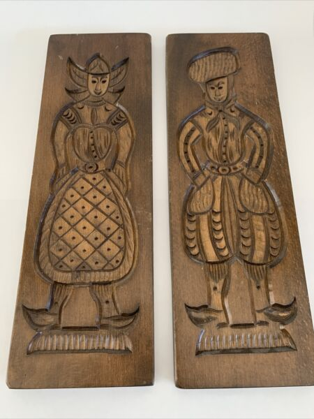 """Set of 2 Vintage Wooden Speculaas Cookie Biscuit Woman amp; Man Molds 21"""" x 7"""""""