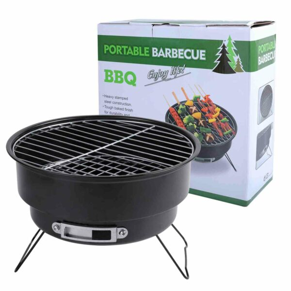Portable Charcoal BBQ Grill Stainless Steel Tabletop Barbecue Stove for Picnic