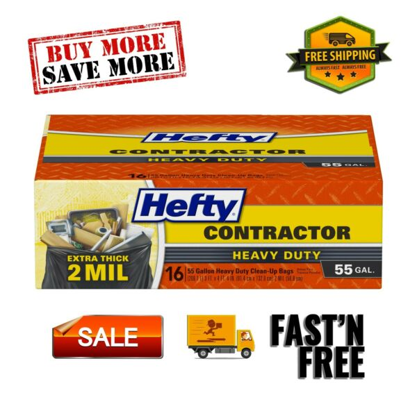 Heavy Duty Contractor Extra Large Trash Bags 55 Gallon 16 Pieces Pegboards Black $12.99