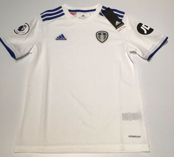 Leeds United Boys Home Shirt White 2020 2021 Adidas New with Tags Youth XS L