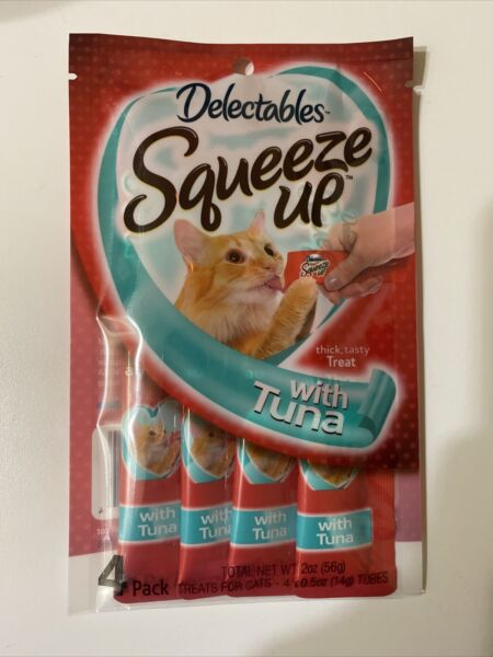 "Hartz Delectables Squeeze Up with Tuna Treats For Cats 1 Pack 4 Tubes ""FREE SHIP $7.75"