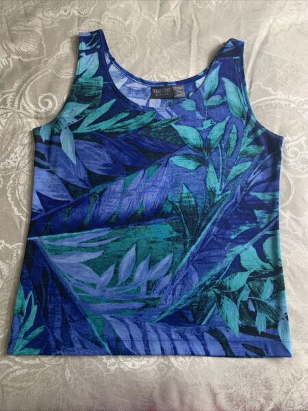 Chicos Womens size 1 Tank Top Blue Green $7.50