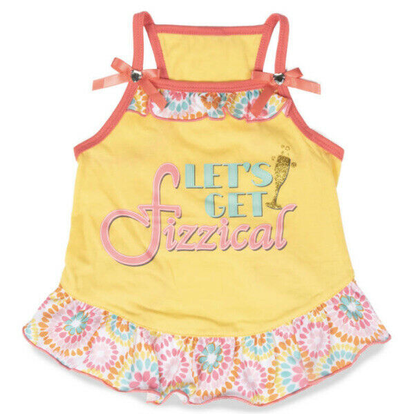 SIMPLY WAG Yellow Summer quot;LET#x27;S GET FIZZICALquot; DRESS Puppy Dog MEDIUM $16.50
