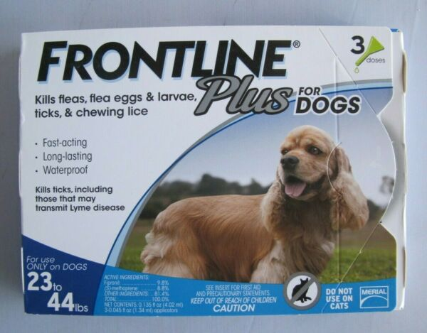 Merial Frontline Plus Flea and Tick Control for Dogs 23 44 lbs 3 Applicators $25.00