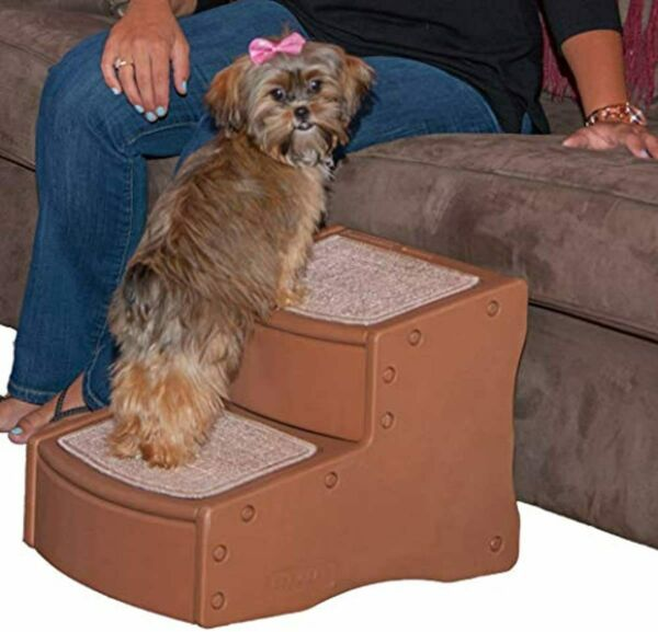 2 Step Pet Stairs for Cats Dogs up to 75 lbs Portable Washable Carpet Tread