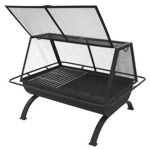 35quot; Black Steel Large Rectangular Outdoor Wood Fire Pit w Cooking Grate Poker $148.99