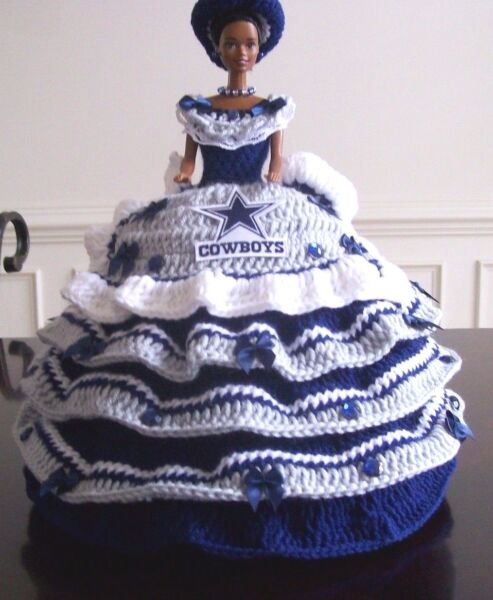 12 inch HANDMADE HAND CROCHET NFL TEAM BED PILLOW DOLLS Select One of 4