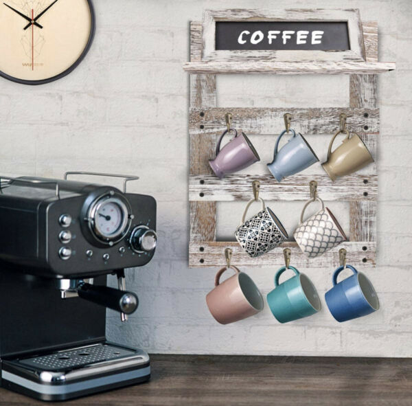 Wall Mounted Rustic Wood Cup Organizer Coffee Mug Holder with 8 Hooks For Home