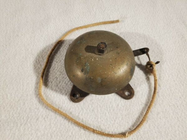 Antique Brass Bronze Boxing Fire Alarm Bell Spring Loaded Mechanical Arm